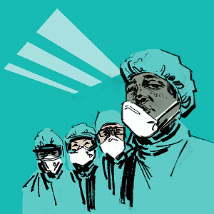 drawing of doctors in masks